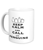 Кружка Keep calm and call the penguins of madagascar